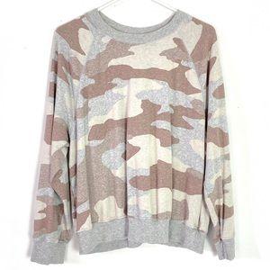 Aerie Soft & Cozy Camo Pullover Grey Sweatshirt L